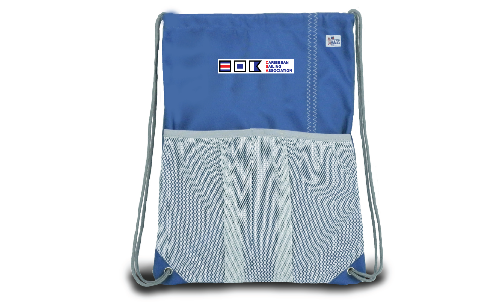 The Chesapeake Drawstring Backpack in blue.