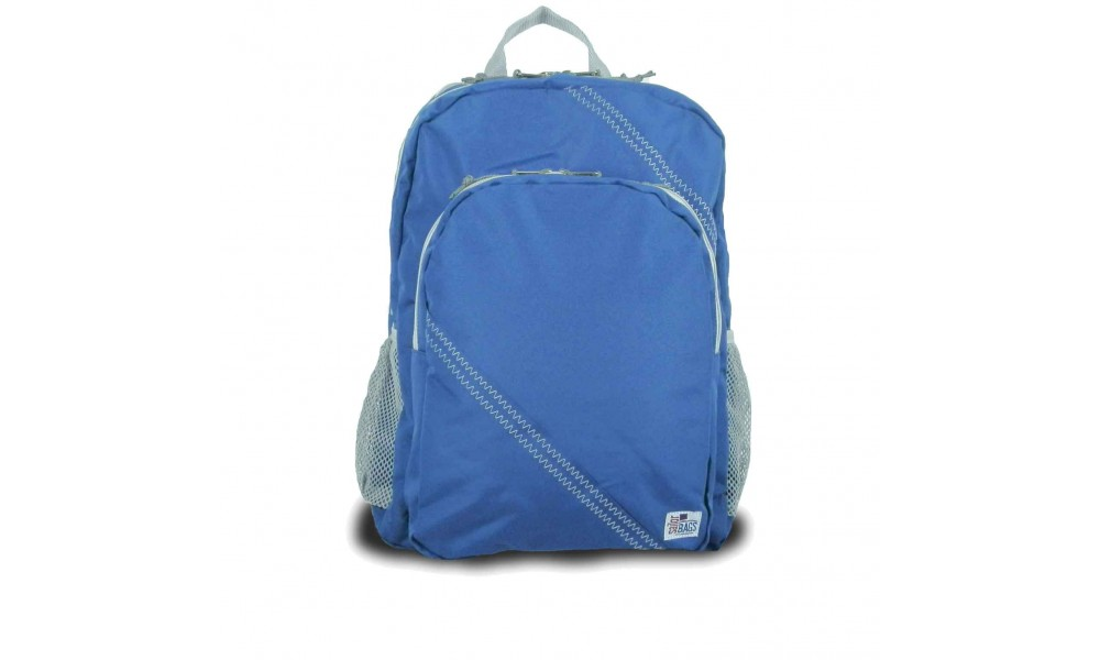 The Chesapeake Backpack in blue is a full-fledged daypack made from genuine sailcloth.