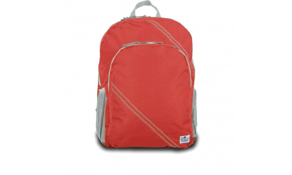 The Chesapeake Backpack in red is a full-fledged daypack made from genuine sailcloth.