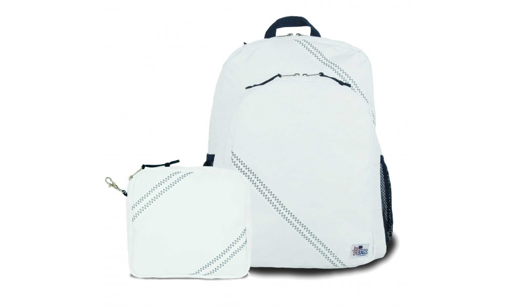 Chesapeake Backpack with the matching Accessory Pouch in white sailcloth
