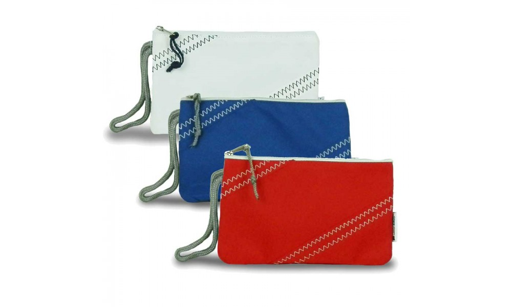 sailcloth wristlet zipper red nautical blue white
