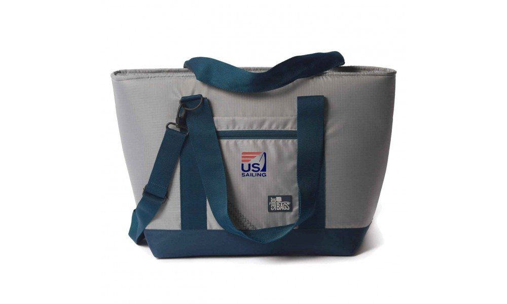 US Sailing Silver Spinnaker Cooler Tote - PERSONALIZE  FREE!