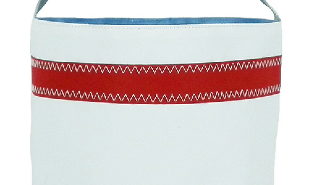 Nautical Stripe Bucket Bag close up white red stripe