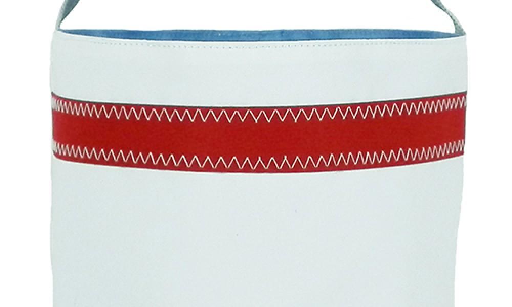 Nautical Stripe Bucket Bag close up white red stripe