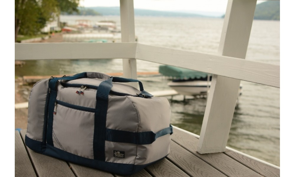 Silver Spinnaker Cruiser Duffel overlooking lake