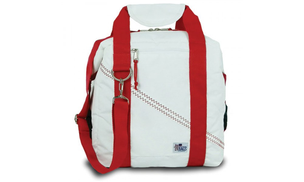 Newport Cooler Bag - 12 Pack white with red stripes