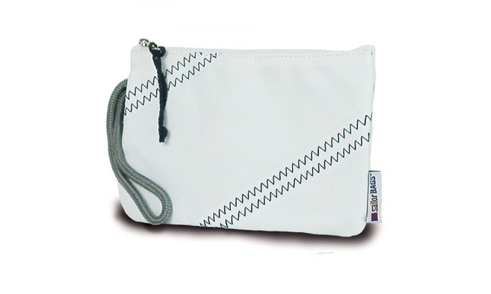 white sailcloth wristlet close up
