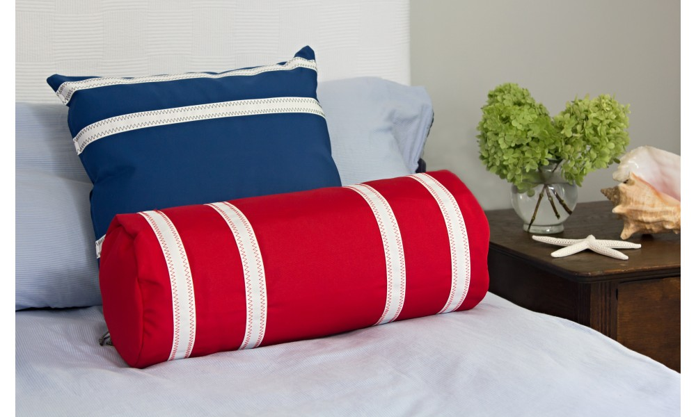 Nautical Stripe Bolster and Pillow Cover on bed