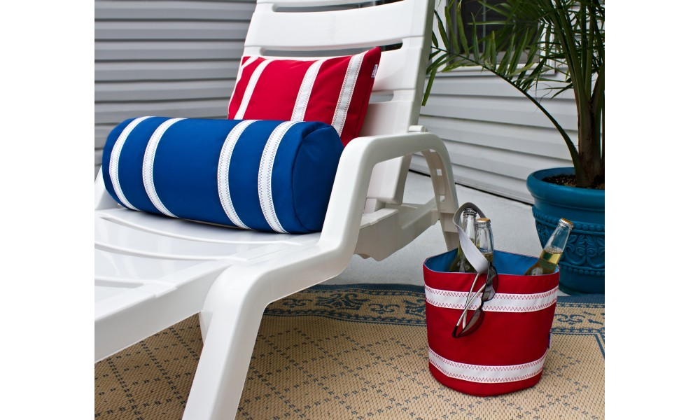 Nautical Stripe Bolster Cover on lounge chair