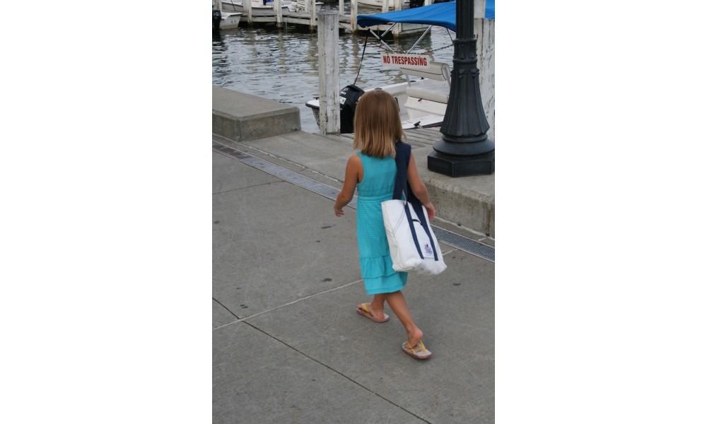 Medium Tote and matching Mini Tote little girl carrying