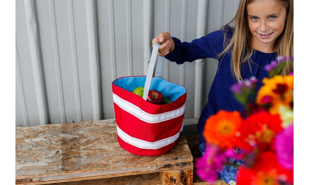 Nautical Stripe Bucket Bag held by little girl