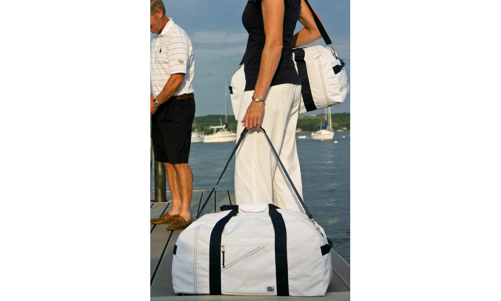 woman carrying XL Newport Square Duffel