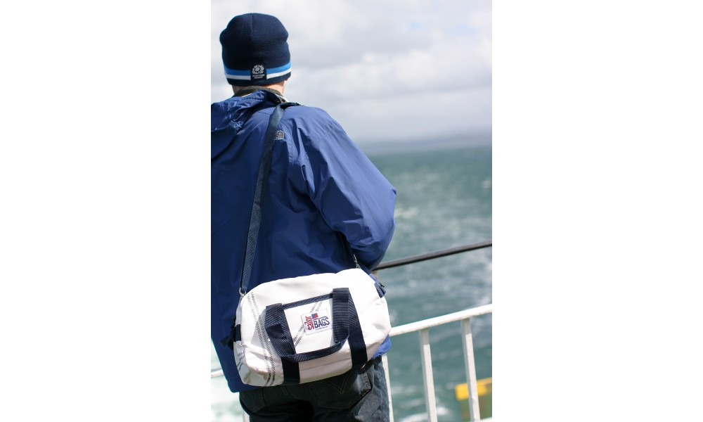 Small Newport Square Duffel over should on boat