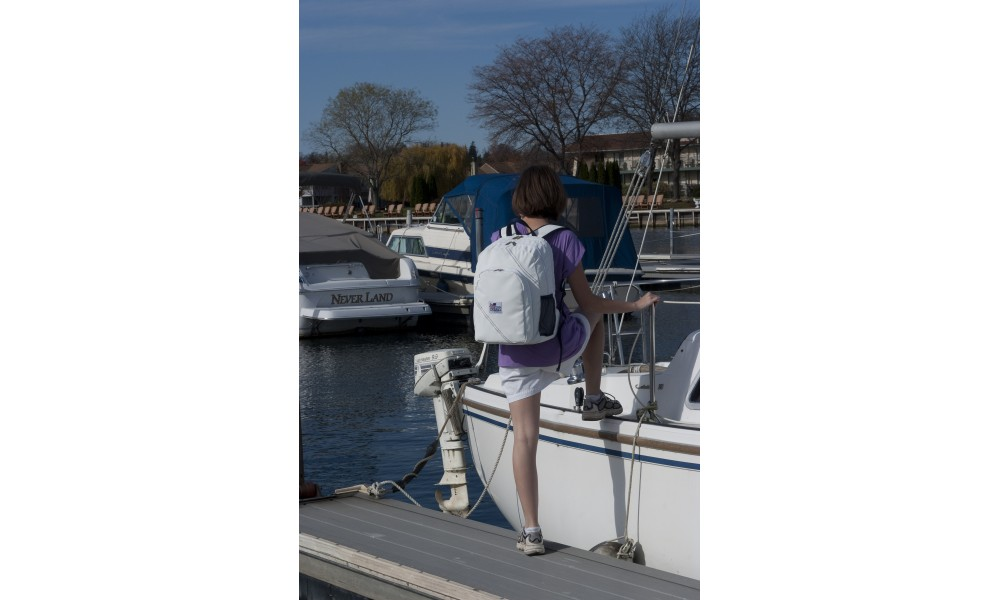 The Chesapeake Backpack is made from genuine sailcloth so it can handle being out on the water.