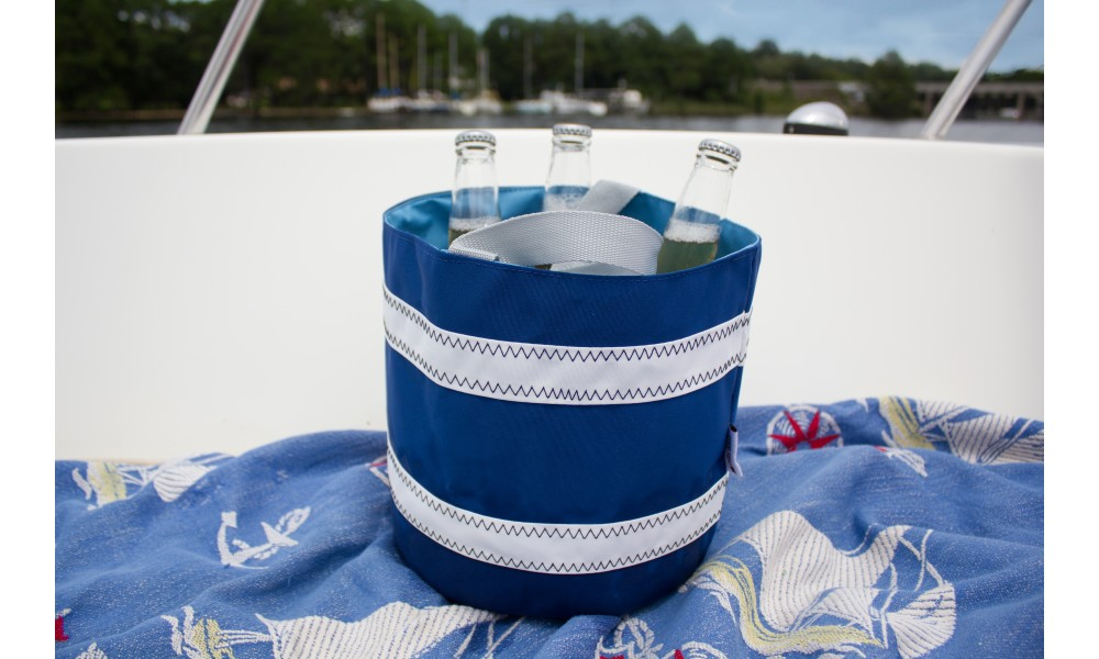 Nautical Stripe Bucket Bag blue on boat