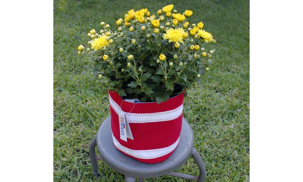 Nautical Stripe Bucket Bag red with flowers inside